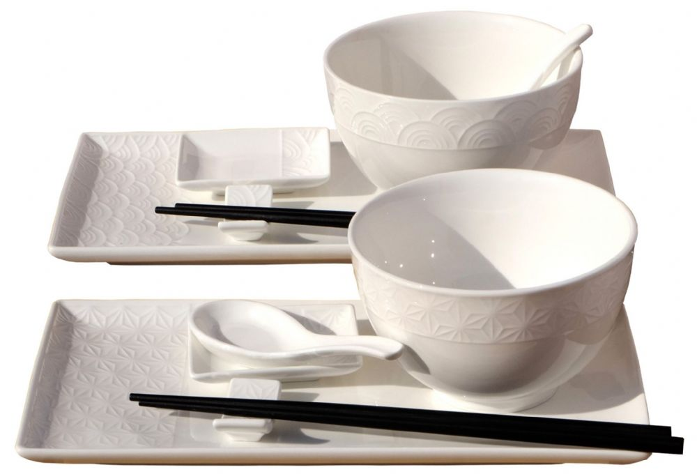 Wave & Star Bowls & white Textured Sushi set for 2